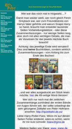 Vorschau der mobilen Webseite xiane.de, Xianes Zusammenfassungen von Harry Potter