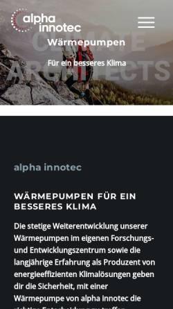 Vorschau der mobilen Webseite www.alpha-innotec.de, Alpha-InnoTec GmbH