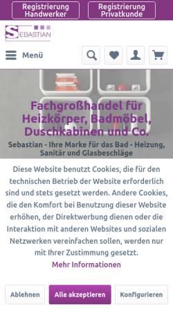Vorschau der mobilen Webseite www.sebastianek.de, Sebastian e.K., Badheizkörper und Duschkabinen