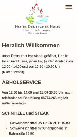 Vorschau der mobilen Webseite www.hotel-deutsches-haus-kaub.de, Hotel Deutsches Haus