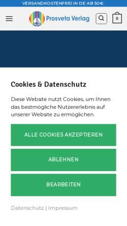 Vorschau der mobilen Webseite www.prosveta.de, Prosveta Verlag GmbH