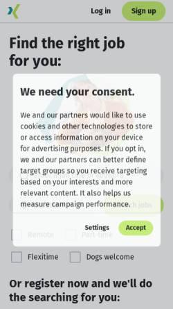 Vorschau der mobilen Webseite www.xing.com, Xing