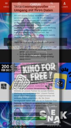 Vorschau der mobilen Webseite www.cineplex.de, Cineplex Warburg