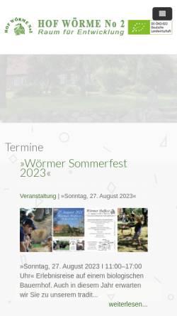 Vorschau der mobilen Webseite www.hofwoerme.de, Hof Wörme