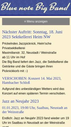 Vorschau der mobilen Webseite www.bluenotebigband.de, Blue Note Big Band