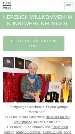 Vorschau der mobilen Webseite www.kunstwerk-neustadt.de, Kunstwerk - Ladengalerie