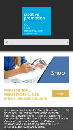 Vorschau der mobilen Webseite www.creative-promotion.de, Creative Promotion e.K.
