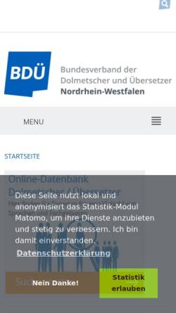 Vorschau der mobilen Webseite www.bdue-nrw.de, BDÜ Landesverband NRW e.V.