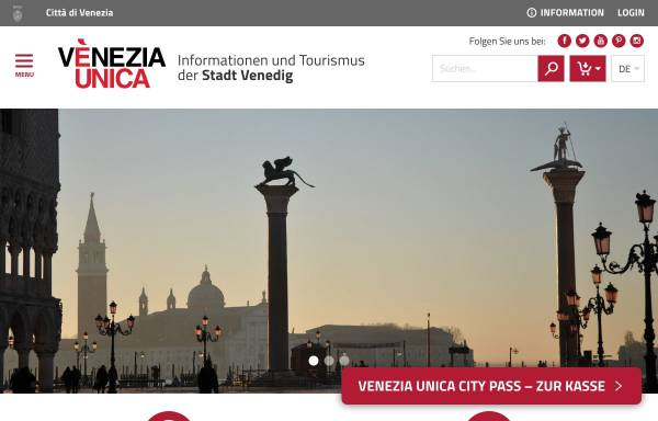 Vorschau von www.veneziaunica.it, Offizielle Website für den Tourismus in Venedig