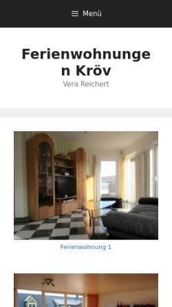 Vorschau der mobilen Webseite www.ferienwohnung-kroev.de, Ferienwohnungen Vera Reichert