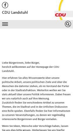 Vorschau der mobilen Webseite www.cdu-landstuhl.de, CDU-Stadtverband Landstuhl