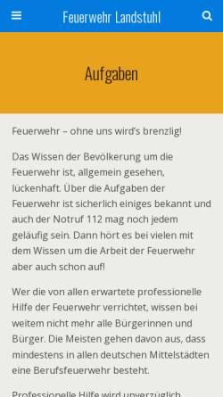 Vorschau der mobilen Webseite www.feuerwehr-landstuhl.de, Freiwillige Feuerwehr Landstuhl