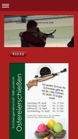 Vorschau der mobilen Webseite www.landstuhler-schuetzen.de, Schützengemeinschaft Burg Nanstein 1848 Lanstuhl e.V.