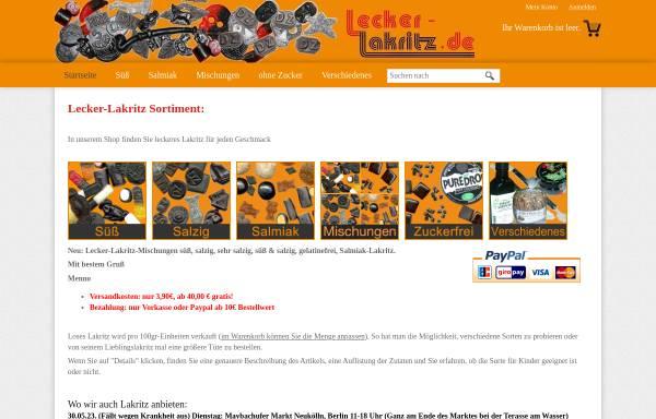 Lecker Lakritz, Menno Rijst: Lakritz, Süßwaren lecker-lakritz.de