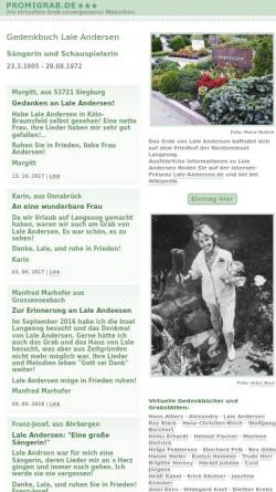 Vorschau der mobilen Webseite www.promigrab.de, Gedenkbuch Lale Andersen