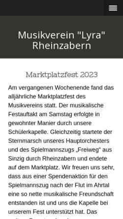 Vorschau der mobilen Webseite www.musikverein-rheinzabern.de, Musikverein Lyra