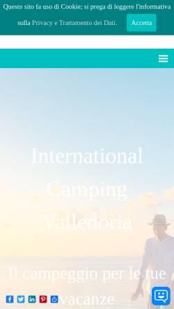 Vorschau der mobilen Webseite www.campingvalledoria.com, International Camping Valledoria