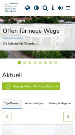 Vorschau der mobilen Webseite www.uni-oldenburg.de, Carl von Ossietzky Universität Oldenburg