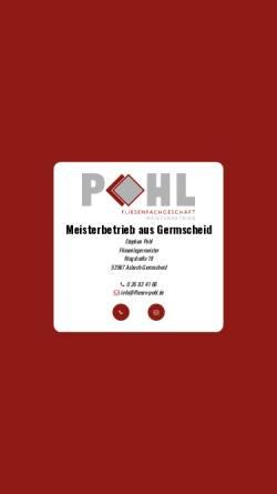 Vorschau der mobilen Webseite www.fliesen-pohl.de, Fliesenlegermeister Stephan Pohl