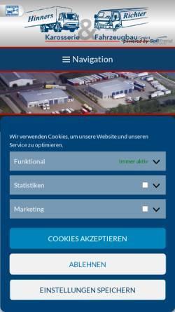 Vorschau der mobilen Webseite www.hinners-richter.com, Hinners & Richter Karosserie- und Fahrzeugbau GmbH