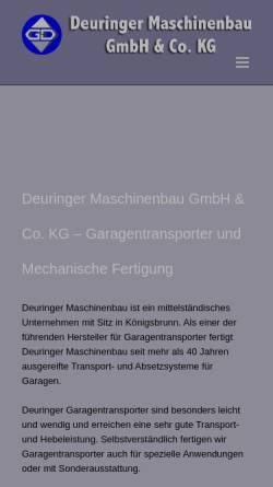 Vorschau der mobilen Webseite www.maschinenbau-deuringer.de, Maschinenbau Georg Deuringer