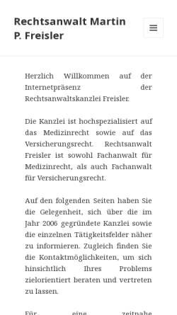 Vorschau der mobilen Webseite www.ra-freisler.de, Rechtsanwalt Martin P. Freisler