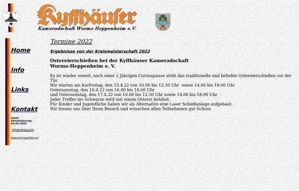 Vorschau von www.kkwo.de, Kyffhäuser-Kameradschaft Worms-Heppenheim e.V