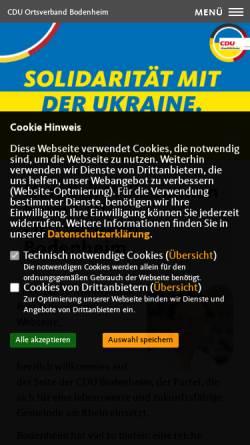 Vorschau der mobilen Webseite cdu-bodenheim.de, CDU Ortsverband Bodenheim