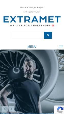 Vorschau der mobilen Webseite www.extramet.ch, Extramet AG