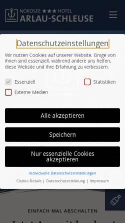 Vorschau der mobilen Webseite www.arlau-schleuse.de, Hotel Arlau-Schleuse
