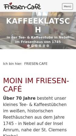 Vorschau der mobilen Webseite www.friesen-cafe.de, Friesen-Cafe