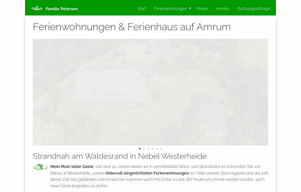 Vorschau von www.urlaubsinsel-amrum.de, Ferienhäuser Petersen