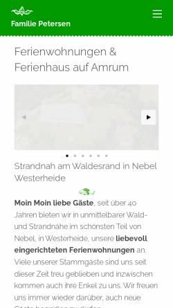 Vorschau der mobilen Webseite www.urlaubsinsel-amrum.de, Ferienhäuser Petersen
