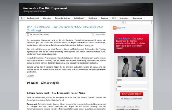 Vorschau von www.timbos.de, Das Diät Experiment