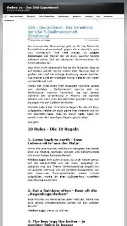 Vorschau der mobilen Webseite www.timbos.de, Das Diät Experiment