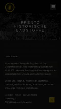 Vorschau der mobilen Webseite www.frentz-historische-baustoffe.de, Benedikt Freiherr Raitz von Frentz