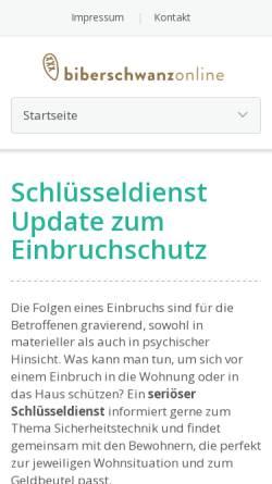 Vorschau der mobilen Webseite www.biberschwanz-online.de, Uwe Schriever