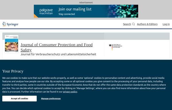 Vorschau von www.springer.com, Journal für Verbraucherschutz und Lebensmittelsicherheit (JVL)