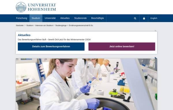 Vorschau von www.uni-hohenheim.de, Bachelor Ernährungswissenschaft an der Universität Hohenheim