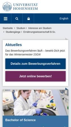 Vorschau der mobilen Webseite www.uni-hohenheim.de, Bachelor Ernährungswissenschaft an der Universität Hohenheim