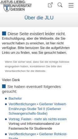Vorschau der mobilen Webseite www.uni-giessen.de, Bachelor Ernährungswissenschaften an der Justus-Liebig-Universität Gießen