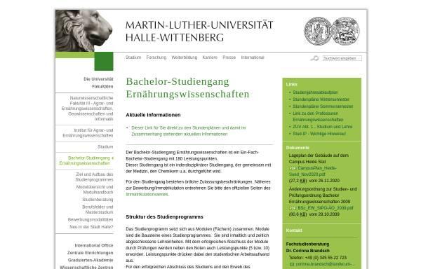 Vorschau von www.landw.uni-halle.de, Bachelor Ernährungswissenschaften an der Martin-Luther-Universität Halle