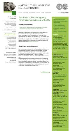 Vorschau der mobilen Webseite www.landw.uni-halle.de, Bachelor Ernährungswissenschaften an der Martin-Luther-Universität Halle