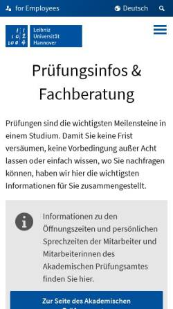Vorschau der mobilen Webseite www.uni-hannover.de, Bachelor of Science Lehramt an berufsbildenden Schulen an der Universität Hannover