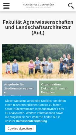 Vorschau der mobilen Webseite www.al.fh-osnabrueck.de, Bachelor Ökotrophologie an der Fachhochschule Osnabrück