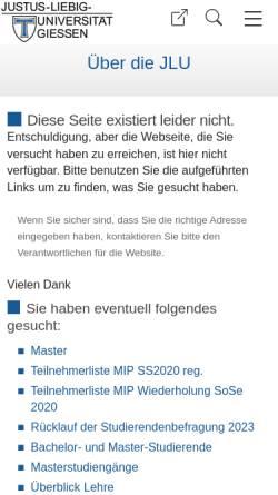 Vorschau der mobilen Webseite www.uni-giessen.de, Master Ernährungsökonomie an der Justus-Liebig-Universität Gießen