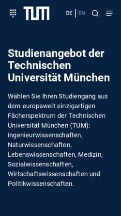 Vorschau der mobilen Webseite portal.mytum.de, Master Ernährungswissenschaft an der Technischen Universität München