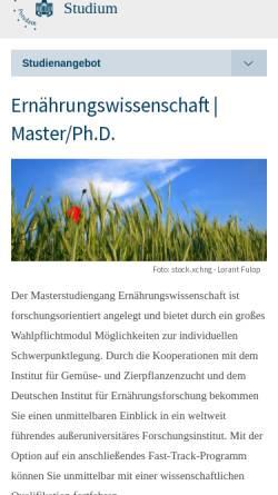 Vorschau der mobilen Webseite www.uni-potsdam.de, Master Ernährungswissenschaft an der Universität Potsdam
