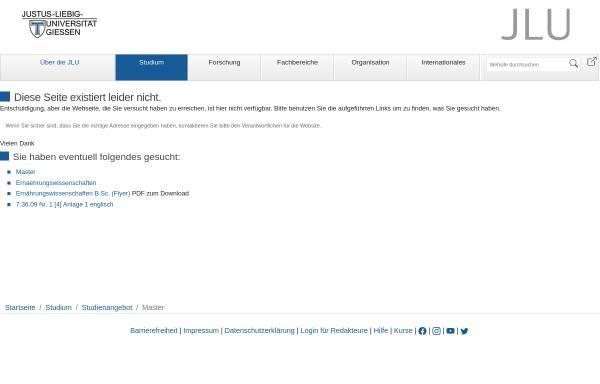 Vorschau von www.uni-giessen.de, Master Ernährungswissenschaften an der Justus-Liebig-Universität Gießen