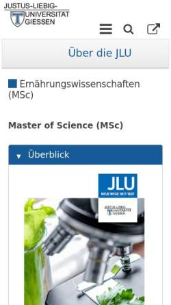 Vorschau der mobilen Webseite www.uni-giessen.de, Master Ernährungswissenschaften an der Justus-Liebig-Universität Gießen